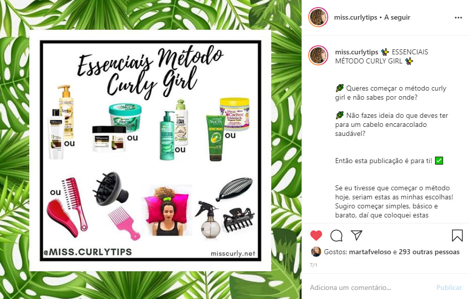 contas de beleza que tens de seguir no instagram miss curly tips