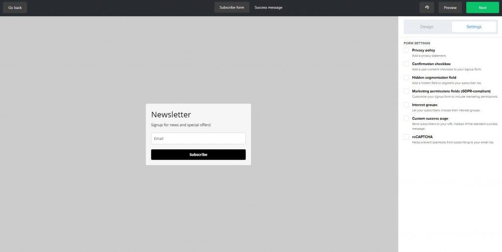 criar uma caixa de subscrição no mailerlite